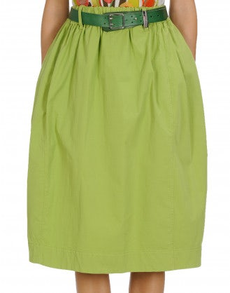 FERVOUR: Green cotton drill skirt