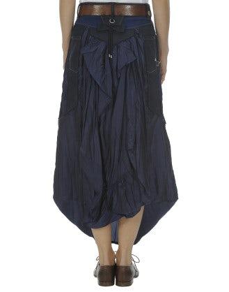 PROUDLY: Drop waist dark denim panel skirt