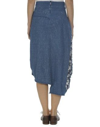 PADDY: Speckle wash print denim skirt