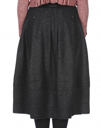 BURLETTA: Charcoal flecked wool skirt