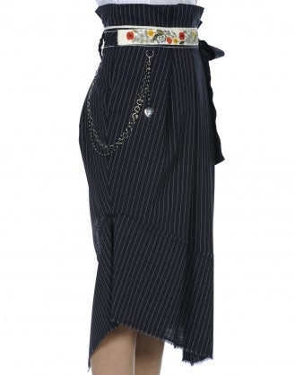 POESY: Fold over and tie pinstripe skirt