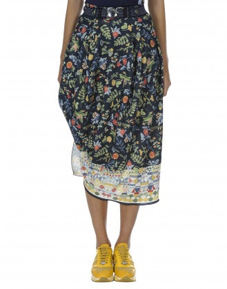 DULCET: Print draped and wrapped jersey skirt