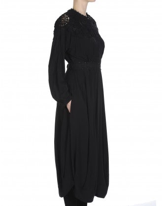 CHORALE: Shirt waister dress in black stretch rayon with embroidered lace