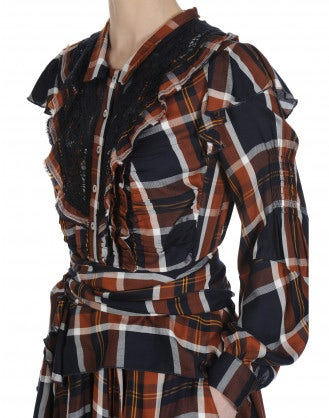 SOLILOQUI: Abito chemisier in rayon scozzese color blu navy, ocra e bianco