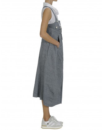 NAVIGATE: Blue linen and cotton salopette-dress