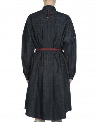LA-DI-DA: Soft denim shirt-waist dress with cream blanket stitch