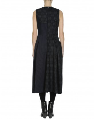 FANCIFUL: Multi texture sleeveless dress in navy and grey