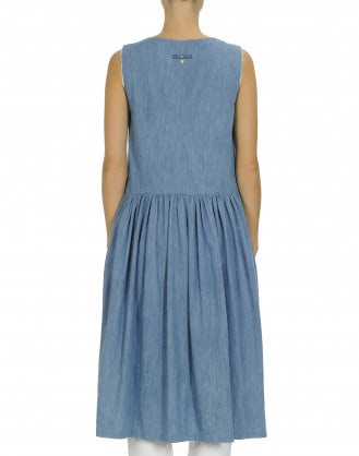 NOVICE: Denim and check dress with side zips