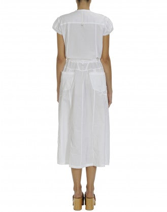 VACANCE: Cap sleeve dress in white mini-check