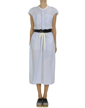 VACANCE: Cap sleeve dress in blue mini-check
