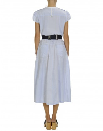 VACANCE: Cap sleeve dress in blue mini-check