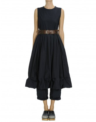 CHIME: Navy sleeveless dress with pleats and pickups