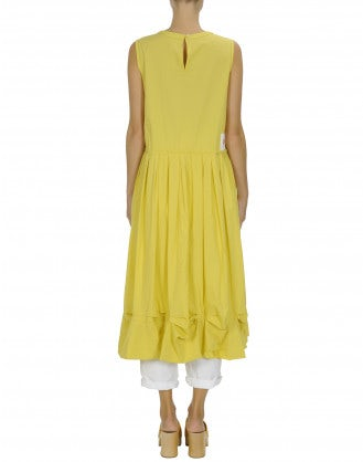 CHIME: Yellow sleeveless dress with pleats and pickups