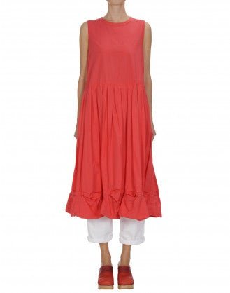 CHIME: Red sleeveless dress with pleats and pickups