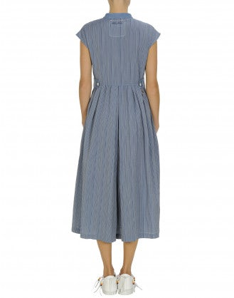AMAZE: Blue stripe dress with divided hem