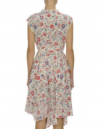 HOEDOWN: Liberty print sleeveless ruffle neck dress