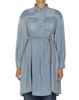 MARVEL: Flared and faded denim shirt dress