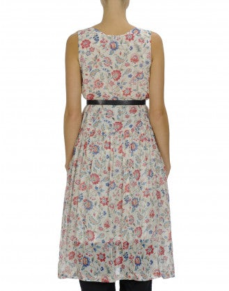 SERENE: Floral print square neck sleeveless dress