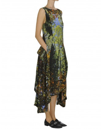 FOLLOW ME: Long Foliage-photo print dress
