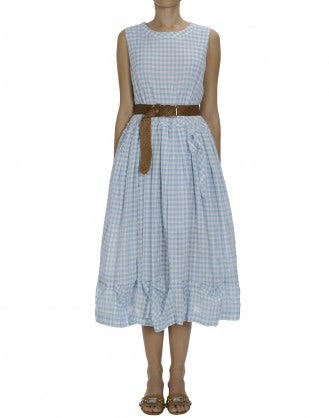 SALUTE: Sleeveless dress with pleats and pickups