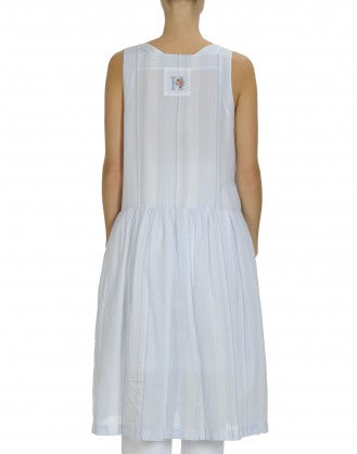 SERENE: Pale blue square neck sleeveless dress