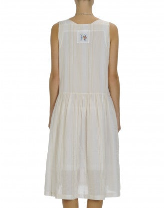 SERENE: Beige square neck sleeveless dress