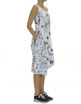 REJOICE: Blue and white floral print jersey dress