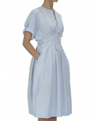 LUCID: Soft blue check cotton dress