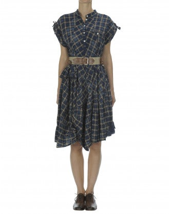 HORNPIPE: Blue laser floral check dress