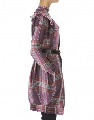 HARLEQUIN: Abito rosa scozzese con cintura in tessuto