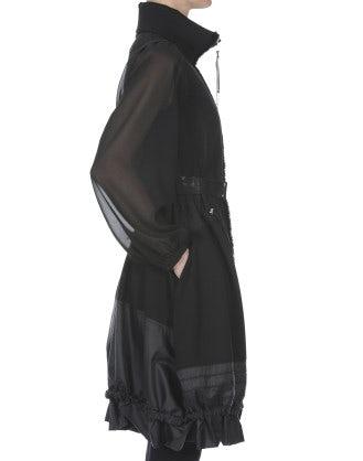 CHINOOK: Abito nero con manica in voile e zip frontale