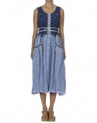 SCINTILLA: Denim bodice dress with tie waist
