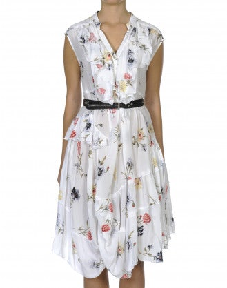 HOEDOWN: Floral sleeveless ruffle neck dress