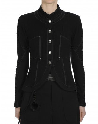 FRISK: Stand collar jacket in black and white jersey
