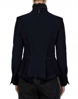 EYRE: Collarless jacket in blue wool jersey