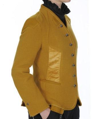 EYRE: Collarless jacket in saffron wool jersey