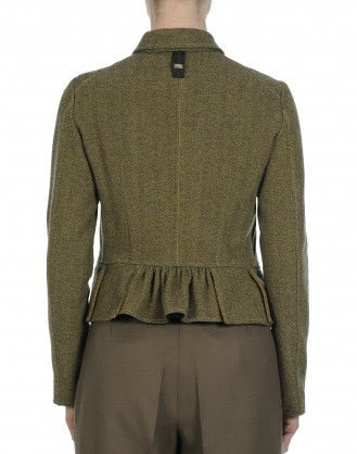 THACKERAY: Grey and mustard double breasted jacket with peplum