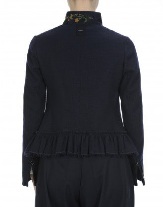 TOP-NOTCH: Giacca corta blu navy con colletto e balza