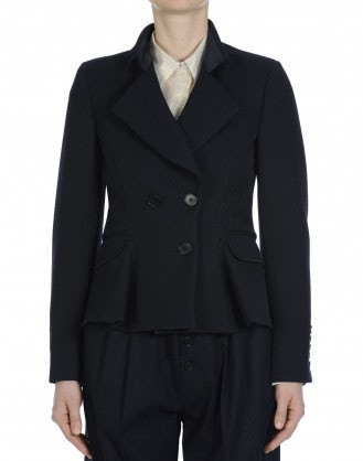 RUSKIN: Double breasted jacket in navy twill