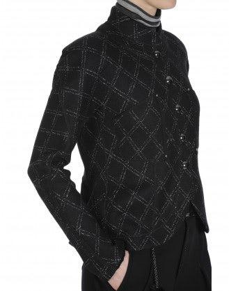 TALENT: Giacca in jersey quadrettato con colletto in piedi