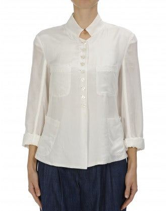 COINCIDE: Stand collar jacket in cream silk