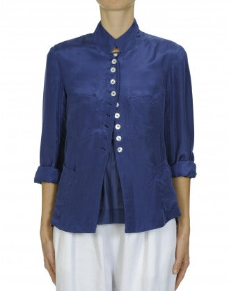COINCIDE: Stand collar jacket in cobalt blue silk