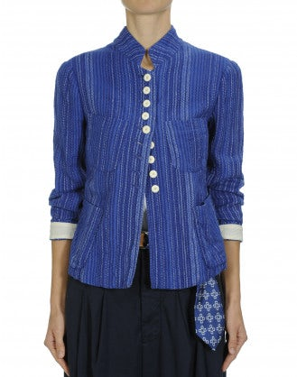 VIRTUE: Stand collar jacket in blue and white stripe