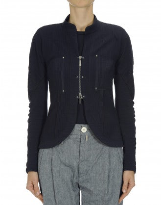 CONFIDE: Navy knit zip front cardigan