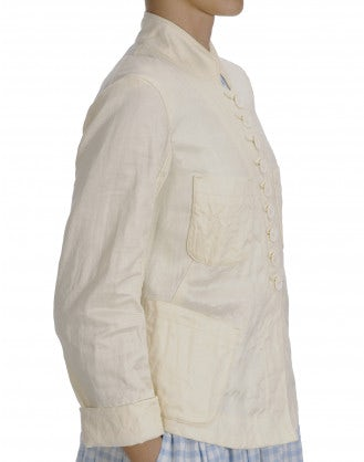 RESPECT: Stand collar jacket in cream twill
