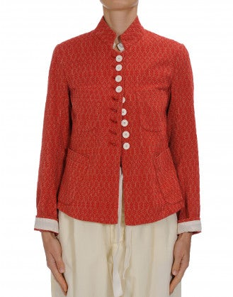 "RESPECT: Stand collar jacket in red cotton ""brocade"""