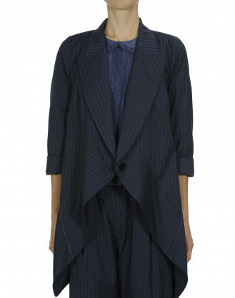 "SWANKO: Blue and navy ""waterfall"" drape jacket"