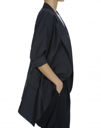 "SWANKO: Navy and grey ""waterfall"" drape jacket"