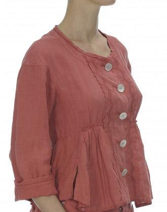 POLONAISE: Giacca con arricciature, color terracotta