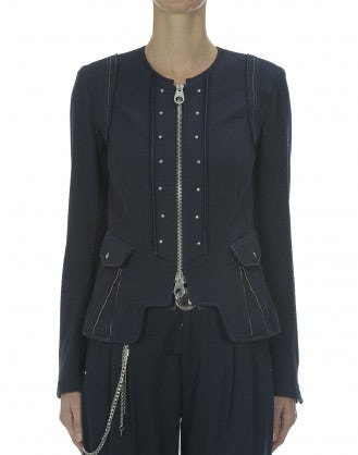 COURTESAN: Navy herringbone knit jacket